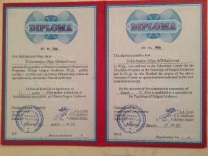 Diplôme d'Olga-Toloshnaya en tant que professeure de l'enseignement Grabovoi